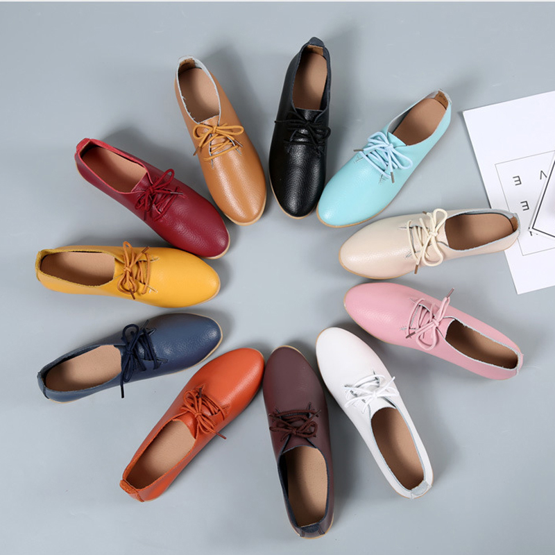 2019 Spring Oxford Shoes Women Flats Fashion Women Shoes Casual Lace Up Moccasins Loafers Ladies Shoes Zapatos Mujer Large Size