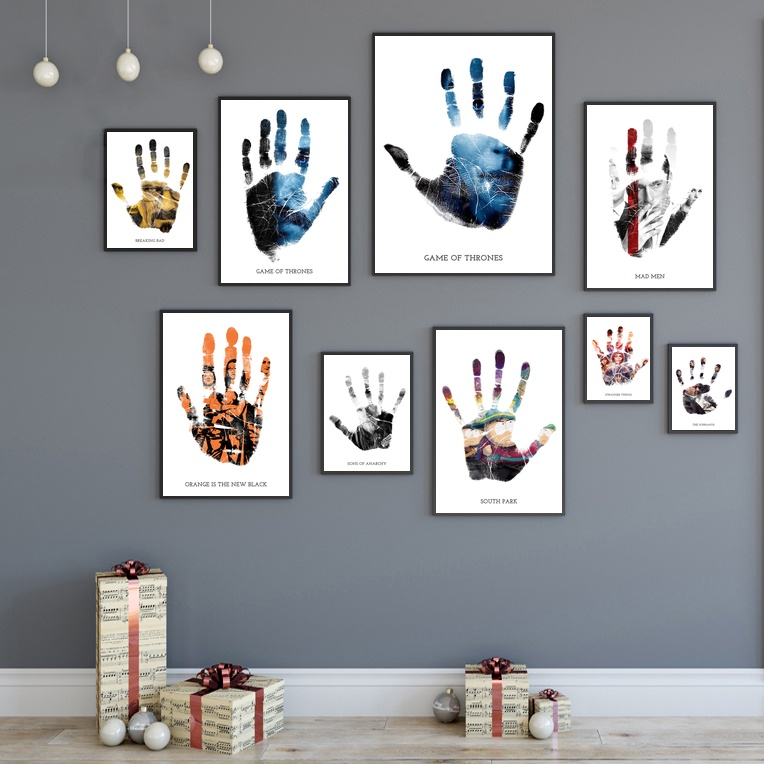 Hand Print Art of Iconic Shows and Movies Wall Art Canvas Painting Pictures for Living Room Home Decor