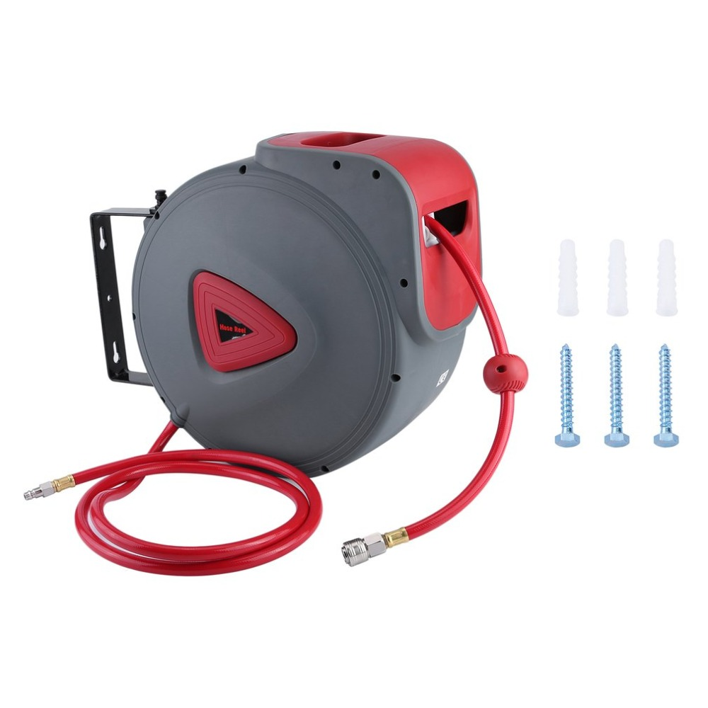 30M UV-Resistant Compressed Air Hose Reel Automatic Hose Reel With Removable Wall Bracket Garage Workshop Accessories