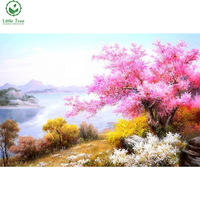 Flores cor de rosa na margem do rio paisagem needlework 5d diy diamante pintura estilo clássico diamante bordado de strass decoração