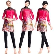 f9e21aab4e Women Muslim Swimsuit Islam Modest Wear Bathing Suit Beach Full Cover  Swimwear 3PCS Arab Burkini Flower Print Fashion Beachwear