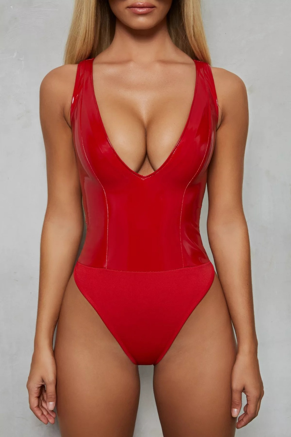 Sexy PU Leather V neck Bodysuit Sleeveless   Jumpsuit   Women Romper Skinny Thong Bodysuit Leotard Black Red Khaki