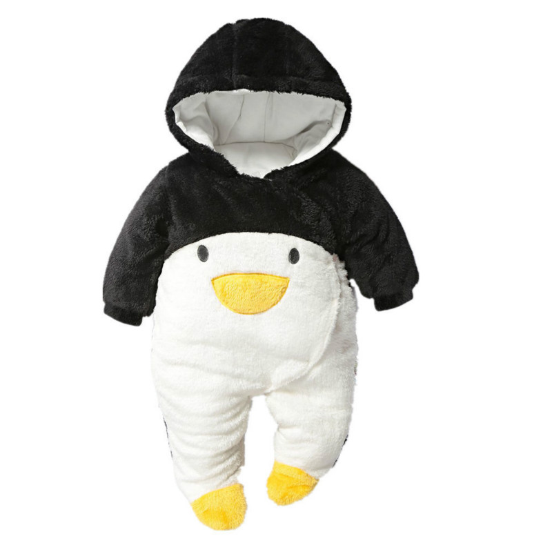New fashion fall winter warm romper newborn baby boy girl clothes bebes cartoon penguin thick cotton jumpsuits infant overall newborn 2017 autumn and winter new girl cartoon plus cashmere cardigan women baby out jackets thick dress princess dress533
