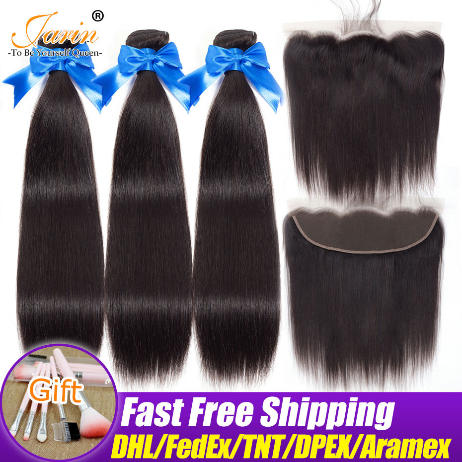 Brazilian Straight Hair Ear To Ear Lace Frontal Closure With 3 Bundles Human hair Weaves With