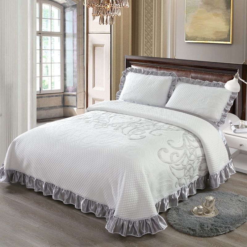 Silver Grey Bedspread Bed Cover Queen King size Bedding set Luxury Bed set Mattress Cover colchas para cama couverture de lit