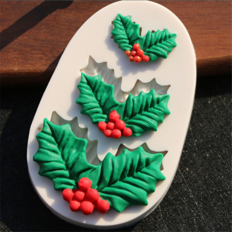 TTLIFE Leaves Shaped Silicone Mold for ConfectioneryChocolate Fondant Cake Decoration Tree Leaf Baking Tools Christmas