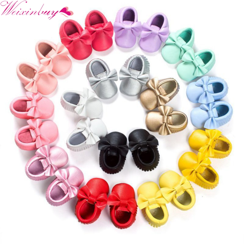 WEIXINBUY Baby Moccasins Kids Girls Party Princess Casual Shoes PU Soft Flats Bow Baby Girl Shoes First Walkers