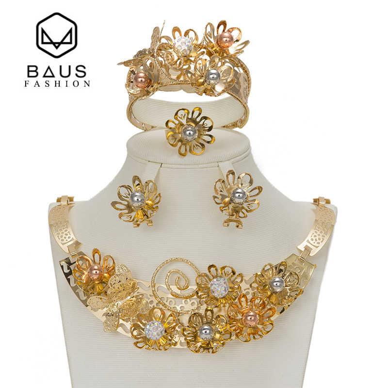 BAUS Dubai zestawy afrykańskie modne kolory zestaw biżuterii kobiety Retro kwiatowe koraliki afrykańskie zestaw biżuterii arabski pozłacany kolekcja biżuterii