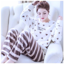 Autumn Winter Women Pajamas Coral Fleece Sleepwear Warm Bathrobe Nightgowns Kimono Pyjamas Home Clothes B-5940