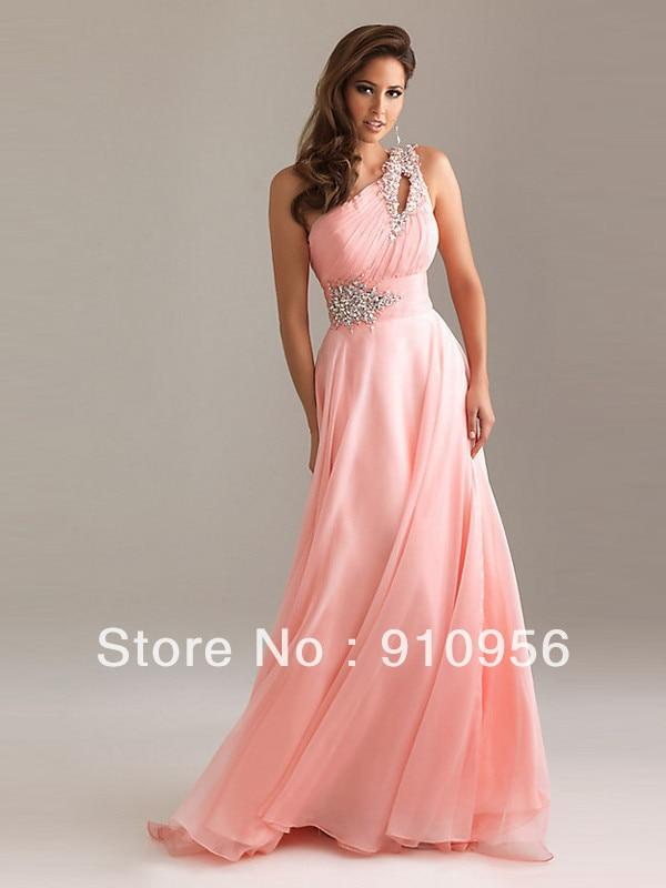 Faironly Pink Ladies Elegant Crystal One Shoulder Silk Chiffon Long ...
