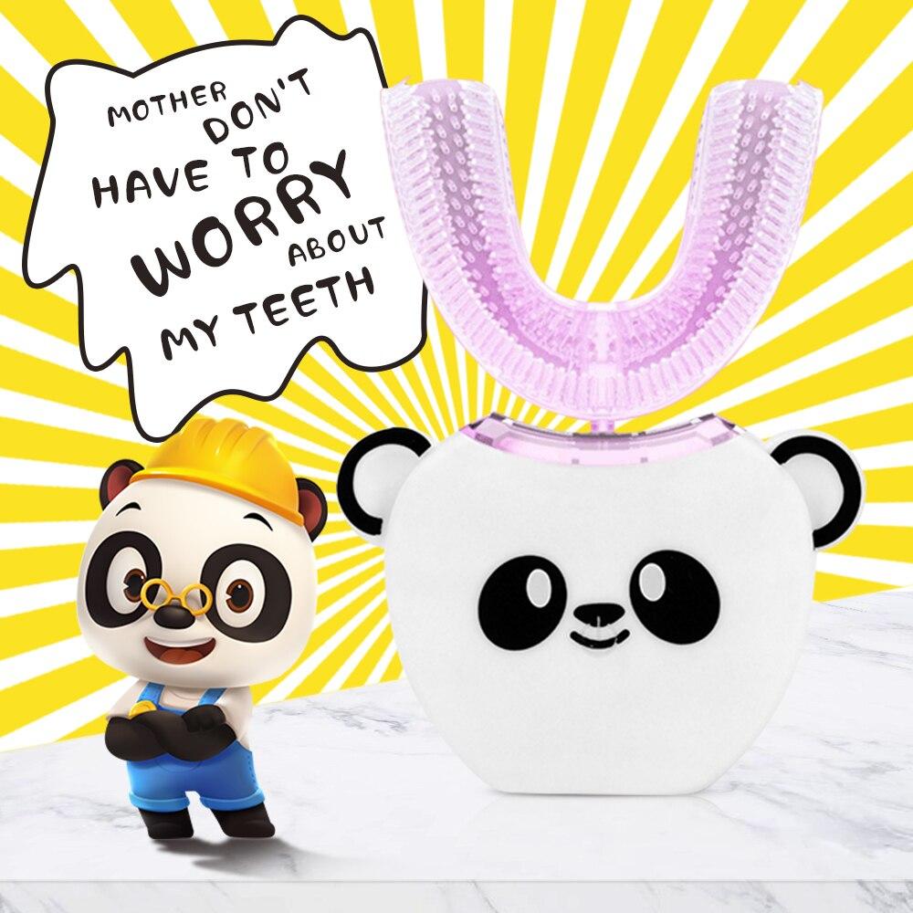 Hot 360 degrés enfants automatique Sonic brosse à dents électrique en forme de tête + musique pour enfants USB charge dent blanchir dentifrice
