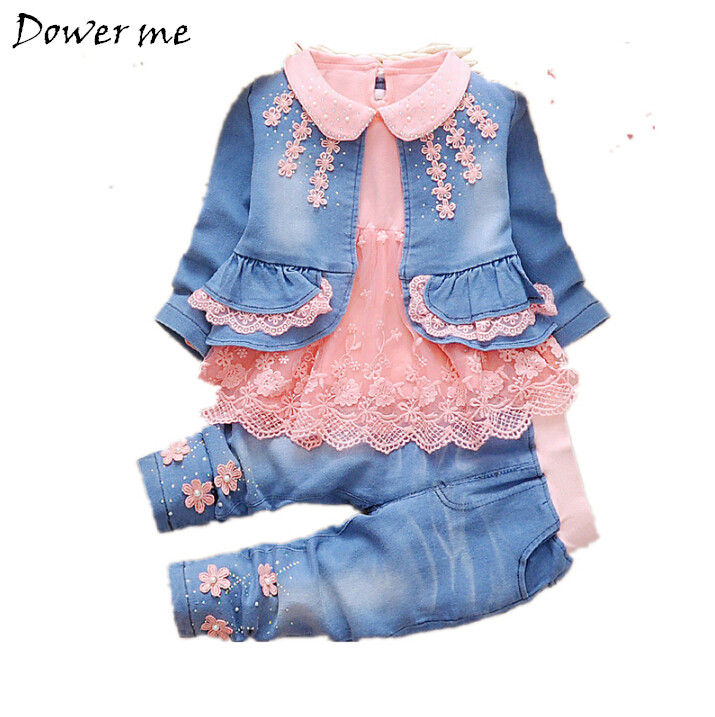 New Arrival Autumn Baby Girls Denim Suit 0-3 Yrs Lace Infant Costume Children Fashion Spring Winter Clothing For Girls 3PCS Sets children s clothing spring high quality cowboy three piece suit of the girls flowers fashion baby suit denim set for infants