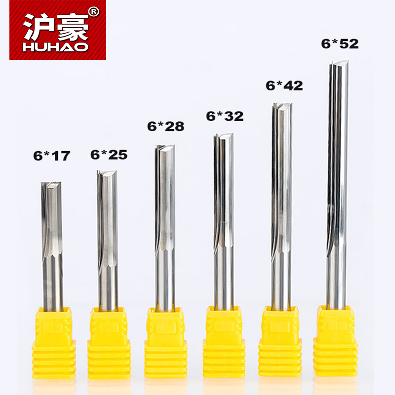 HUHAO 2pcs/lot  Shank 6mm Two Flutes Straight Router Bits For Wood CNC Engraving Cutters Carbide Endmills Tools Milling Cutter