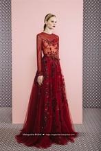2017 New Design Evening Dress Luxury Beading Long Sleeve Floor-Length Dresses Cocktail Party Veatidos De Festa MY1104-16