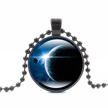 Galaxy Planet Necklaces & Pendants Nebula Spac Glass Cabochon Pendant Trendy Jewelry Black Bead Chain Long Necklace for Women