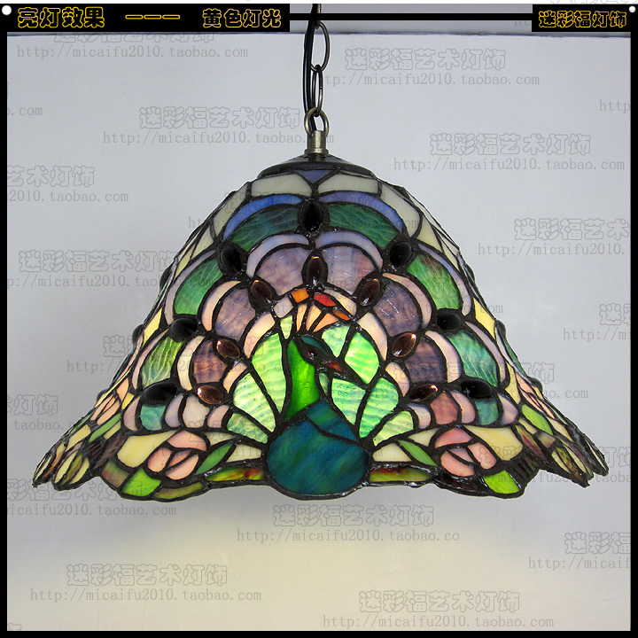 32cm Tiffany peacock Stained Glass Suspended Luminaire E27 110-240V Chain Pendant lights for Home Parlor Dining bed Room