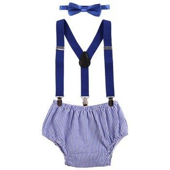 3 adet Set Sevimli Erkek Bebek Giysileri Doğum Günü için Fotoğraf Çekimi Pastası Smash Kıyafet y-geri Jartiyer Şort Papyon bebek Kız Giysileri Set