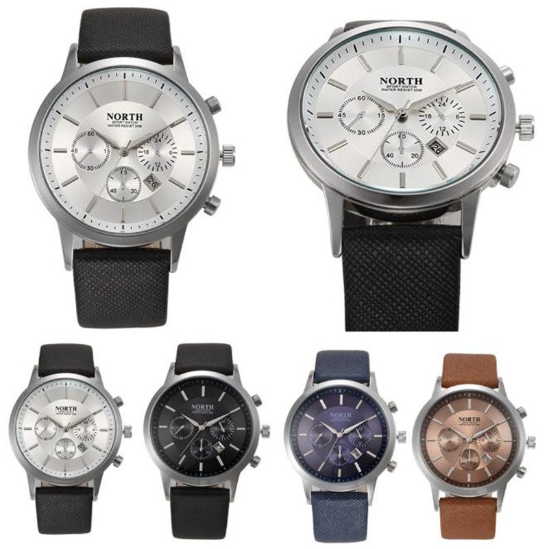NORTH Sports Luxury Mens Genuine Leather Band Analog Quartz Watches Wrist Watch practical luxury mens white silicone band stainless steel analog quartz sports wrist watch