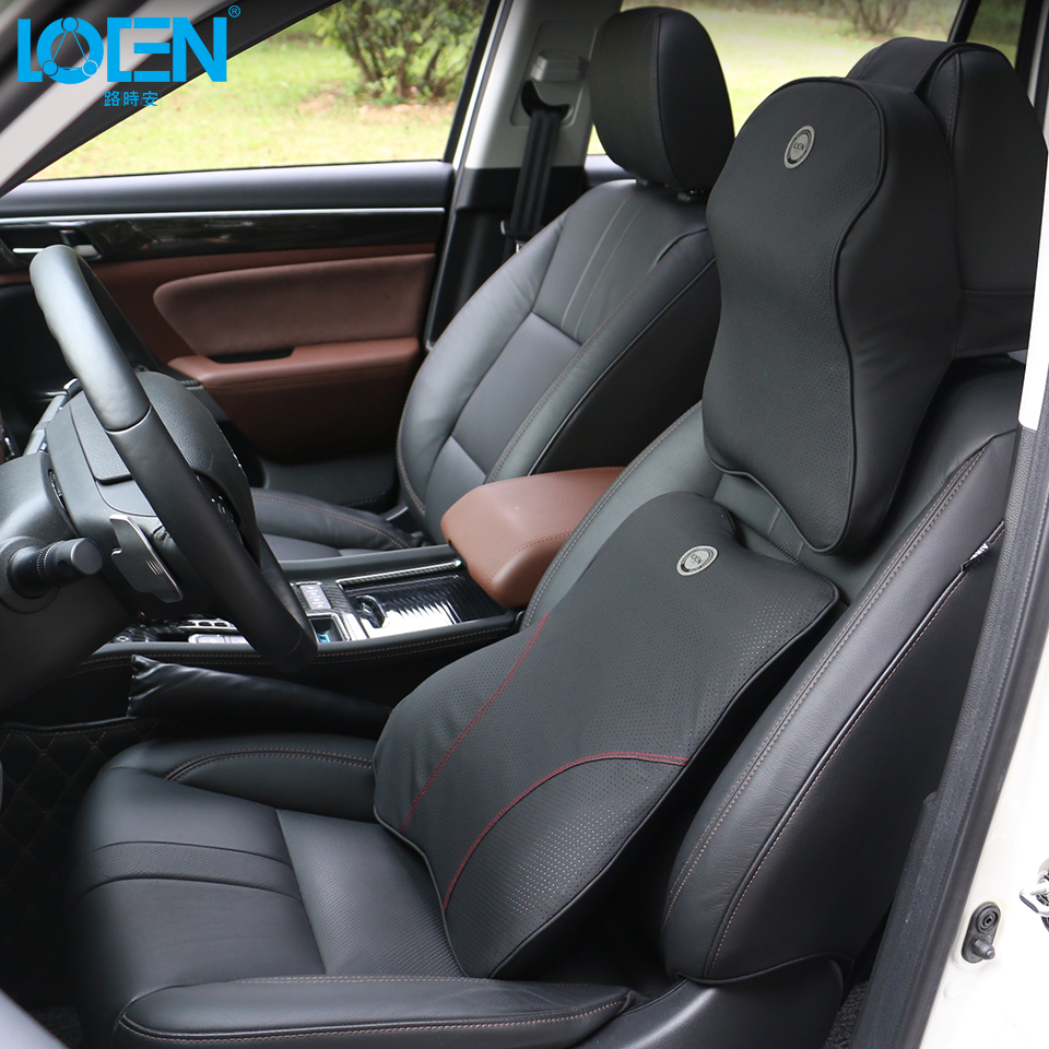 LOEN 1 SET PU Leather Memory Foam Auto Car Seat Cushion Lumbar Back Waist Support + Neck Headrest Pillow Black for Universal Car