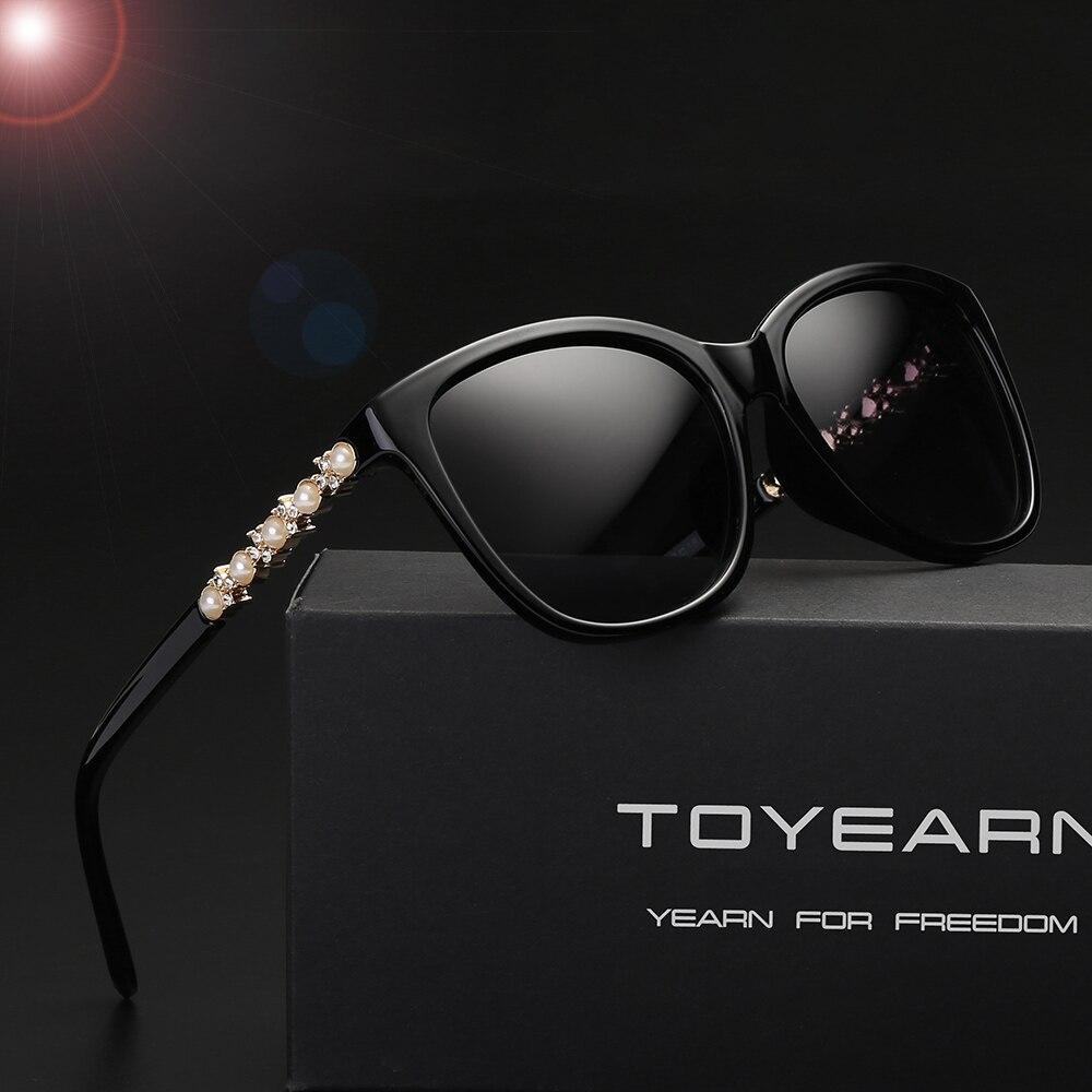 Fashion Ladies Polarized Retro Luxury Brand Designer Sunglasses Women Pearl Frame Diamond Sun Glasses Female UV400 oculos de sol