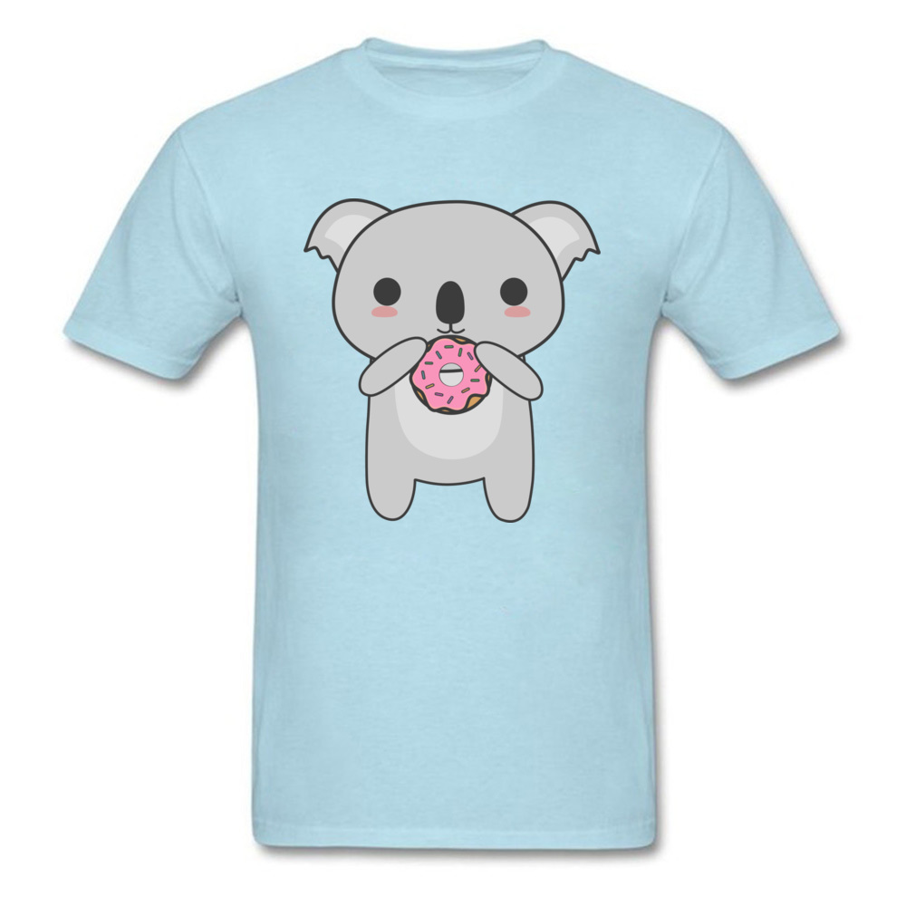 Tops Tees Sweatshirts Kawaii Koala Eating A Donut Summer/Autumn Short Sleeve Cotton Fabric Crew Neck Mens T-Shirt Comics New Kawaii Koala Eating A Donut light