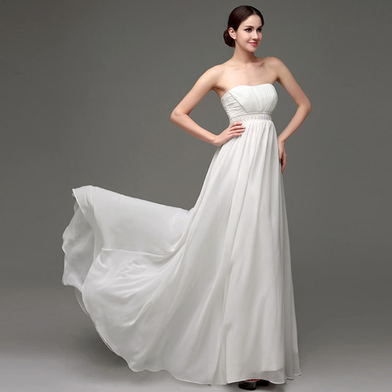ILoveWedding Fashionable Wedding Dresses Formal Strapless White/Ivory A-Line Chiffon Pearls Button Romantic Bridal Dress 24249