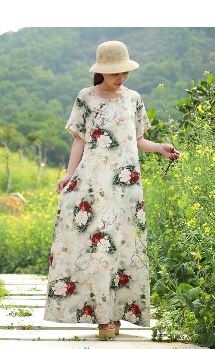 LZJN Original 2019 Summer Maxi Dress Women Short Sleeve Vintage Cotton Linen Showy Peony Printed Kaftan Dress with Side Pockets  (14)