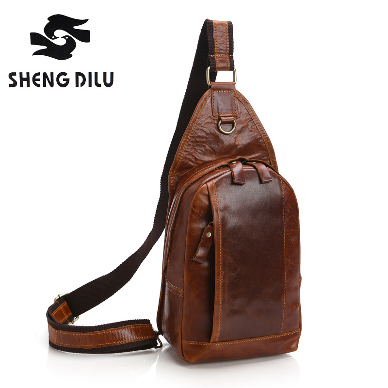 NEW Genuine Real Leather Chest Bag 2016 Vintage Cowhide Men Messenger Bags Travel Riding Cross Body Men's Bag Sling Chest Pack new 2016 genuine leather crocodile alligator pattern men vintage messenger bag waist pack men s bags chest pack waist bag 3864