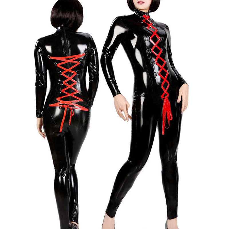 <font><b>Sexy</b></font> <font><b>Pvc</b></font> zentai Jumpsuit <font><b>Women</b></font> Black <font><b>Catsuit</b></font> Clubwear red lacd up Bodysuit Erotic club wear w6068 image