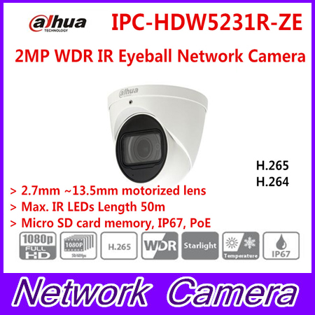 Brand IPC-HDW5231R-ZE 2MP WDR IR Eyeball Network Camera 2.7mm-13.5mm lens Starlight Network Camera Replace IPC-HDW5231R-Z free shipping dahua security ip camera cctv 2mp wdr ir eyeball network camera with poe ip67 without logo ipc hdw5231r z