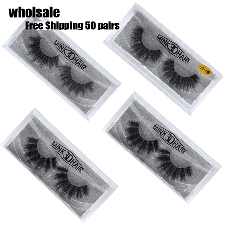 50 Pairs 3d Mink Lashes Wholesale Handmade natural False Eyelashes 3D Mink Eyelashes Dramatic Lashes 17styles makeup Eye Lashes-in False Eyelashes from Beauty & Health