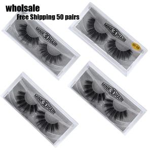 Image 1 - 50 Pairs 3d Mink Lashes Wholesale Handmade natural False Eyelashes 3D Mink Eyelashes Dramatic Lashes 17styles makeup Eye Lashes