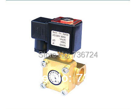 2/2 WAY Pilot operated diaphragm Electric solenoid valve Water Air N/O 220V AC 1/2 Normally closed