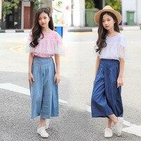 e3ef36999 Teenage Girls Clothing Set 2019 Summer Lace T Shirt Wide Leg Pants Jeans  Suit Tracksuit Children
