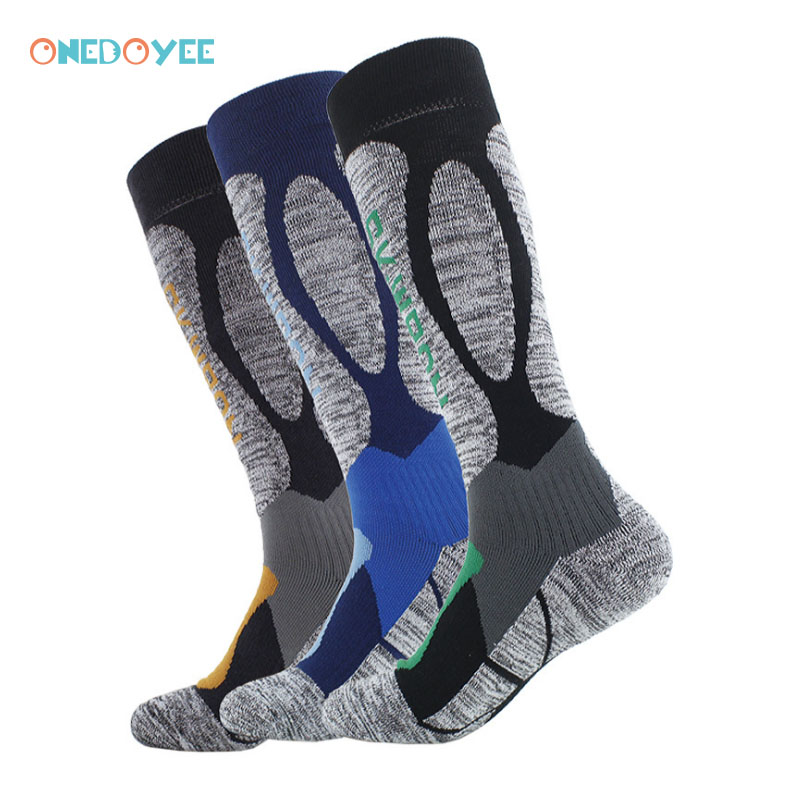 ONEDOYEE Men Ski Socks Football Soccer Socks Cotton Teens Cycling Snowboard Sport Socks Winter Thermal Ski Socks Leg Warmers