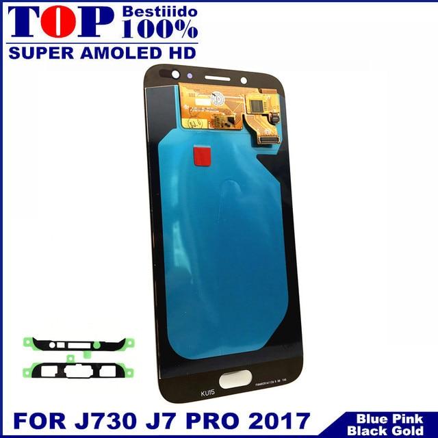 سوبر AMOLED شاشات Lcd لسامسونج غالاكسي J7 برو 2017 J730 J730F شاشة الكريستال السائل مع مجموعة المحولات الرقمية لشاشة تعمل بلمس سطوع التحكم