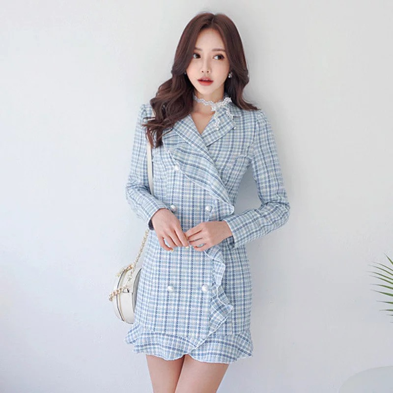 Mode femmes plaid OL double boutonnage robe épaisse nouveauté tempérament extérieur confortable élégant sexy simple mini robe