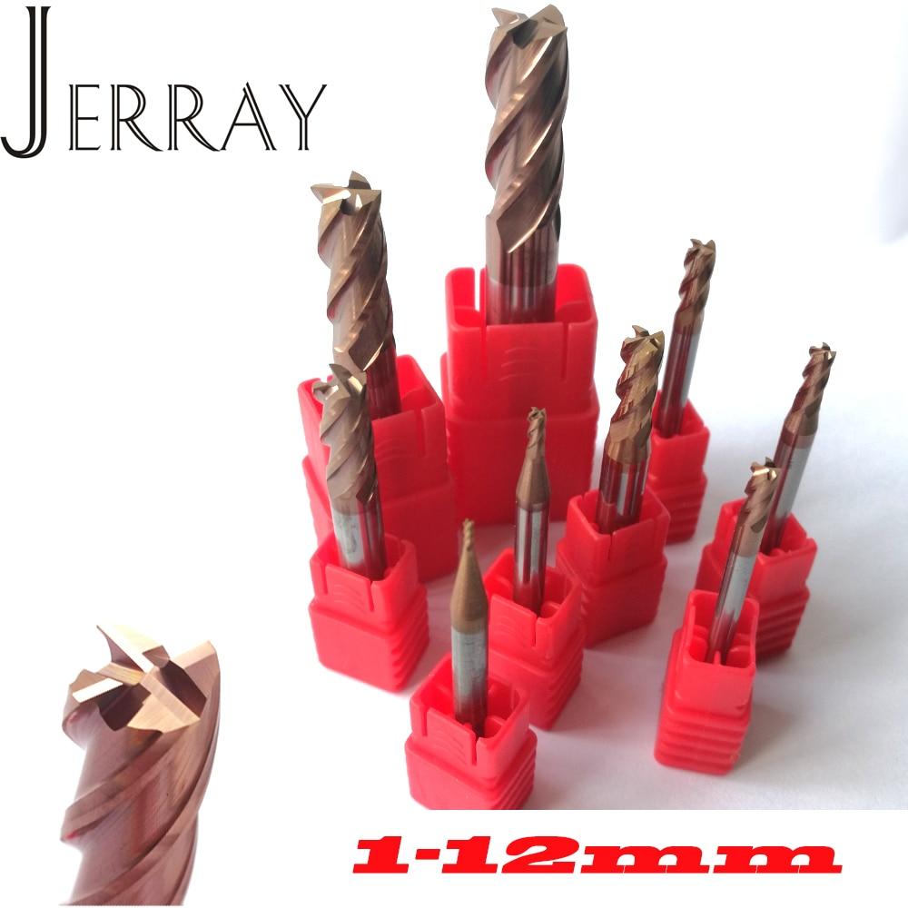 1mm 2mm 3mm 4mm 5mm 6mm 8mm 10mm 12mm 4 Flutes HRC55 Tungsten Carbide Square Flat End Mills Spiral Bits  CNC Endmill Router Bits