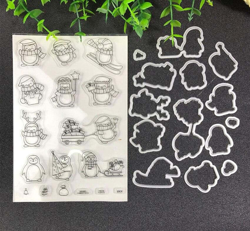 Weihnachten Pinguin Metall Schneiden Stirbt und stempel Schablonen für DIY Scrapbooking/foto album Dekorative Präge DIY Papier Karten Ma