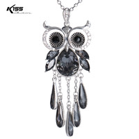 Cute Crystal Owl Pendant Necklace Women Silver Color Cubic Zirconia Animal Necklaces For Women Girls Jewelry