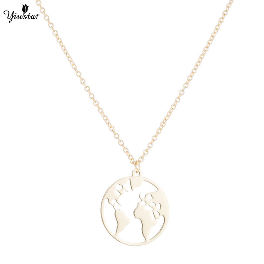yiustar Gold Necklace Choker World Map Pendant Necklaces Stainless Steel Long Hollow Map Necklace GoLD Chain colier femme 2018 necklace
