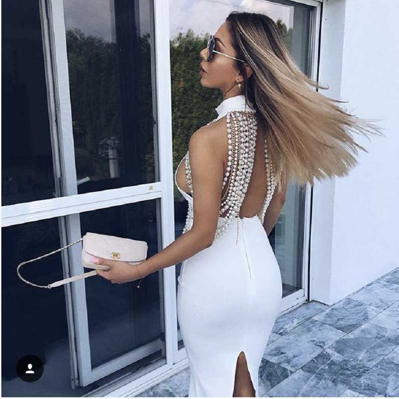 wholesale 2019 New dresses Black and white beige Pearl decoration Backless fashion luxuriou Celebrity Party bandage Dress(L2572)-in Dresses from Women's Clothing    2