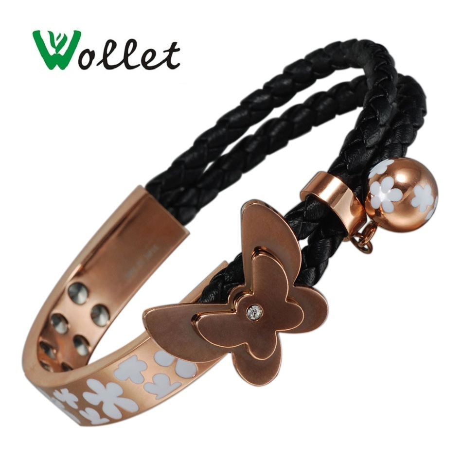 Wollet Jewelry 99 999 Germanium Stainless Steel Magnetic Bracelet for Women Rose Gold Butterfly Health Healing