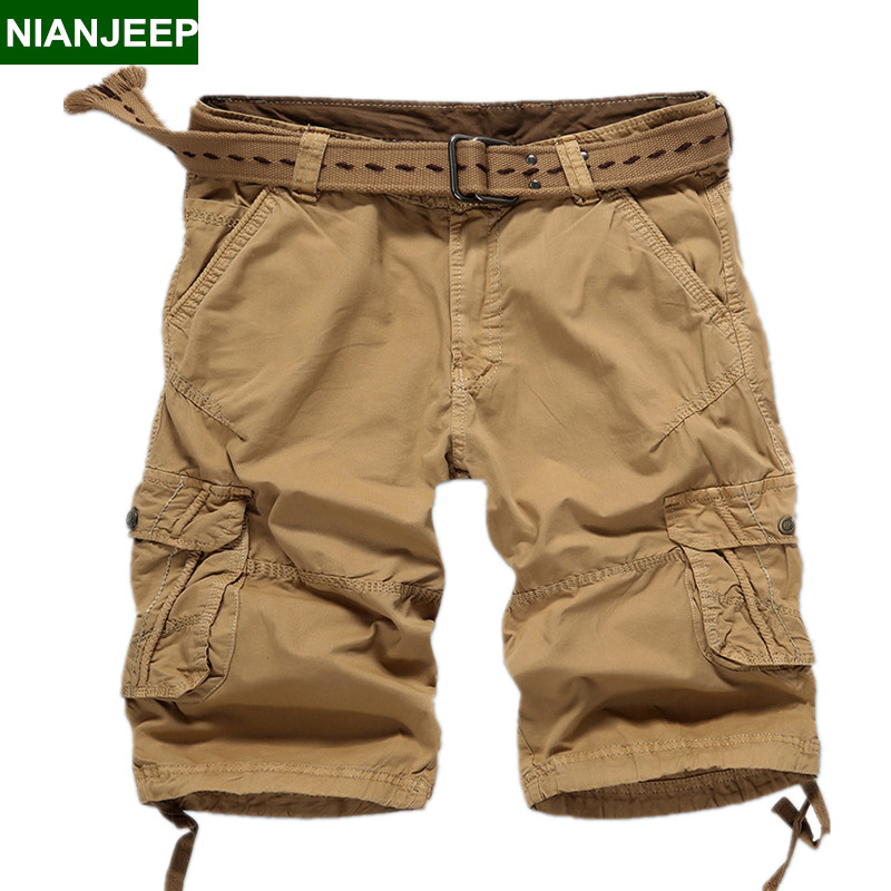 NIANJEEP New mens Cotton multi-pocket cargo shorts pants summer casual Solid color man Tactical short male military short pants
