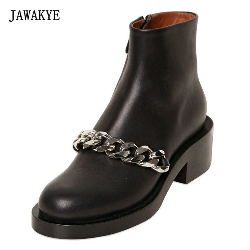 2018 Silver Chain Martin Boots Woman Round Toe Side Zipper Thick Bottom Low Heel Shoes Woman Fashion Ankle Boots JAWAKYE lamtop hot selling compatible projector lamp with housing cage for lc xb41 with high brightness