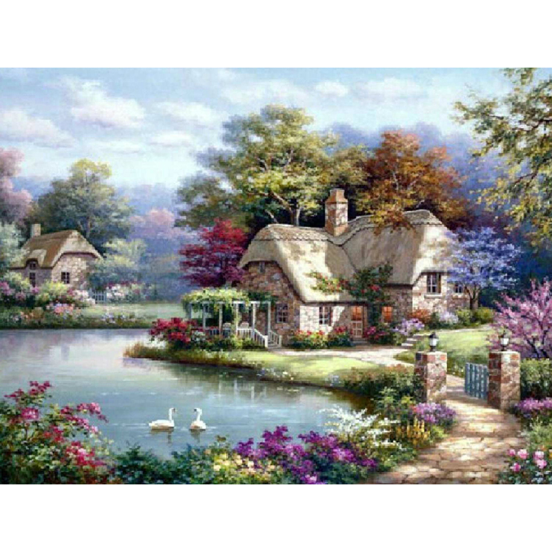 Needlework Diamond Painting Beautiful Pastoral Scenery Diamond Embroidery Square Drill Rhinestone Mosaic Picture Villa Garden