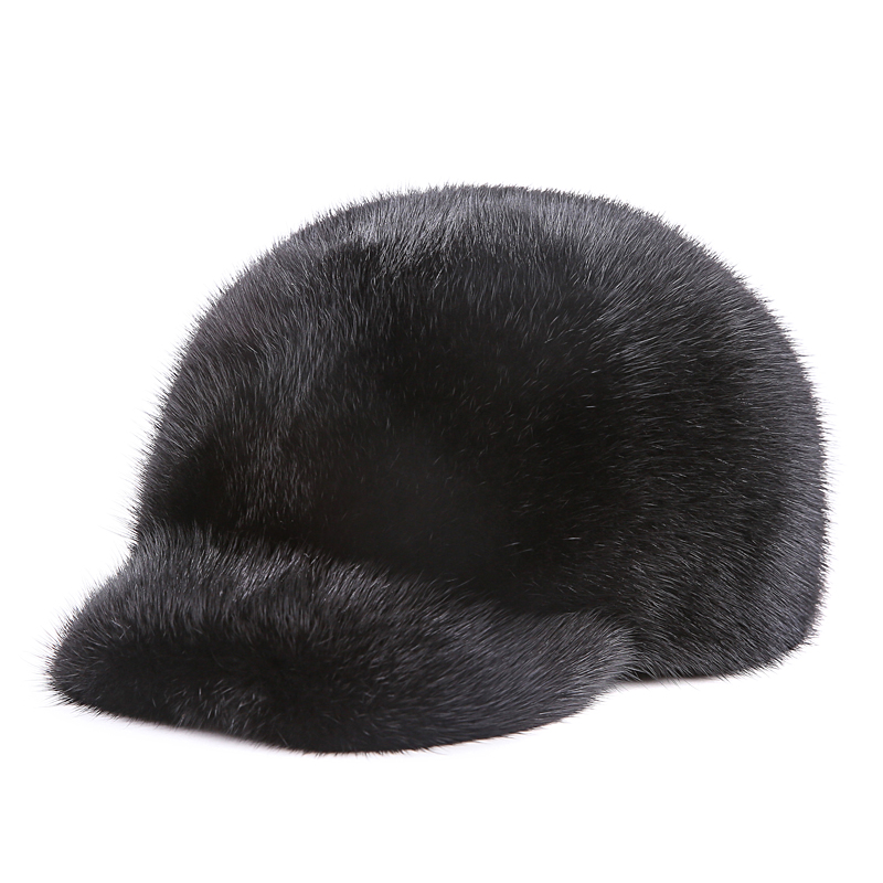 bcbg faux fur baseball cap lined luxury winter unisex marten hat full leather mink font hats