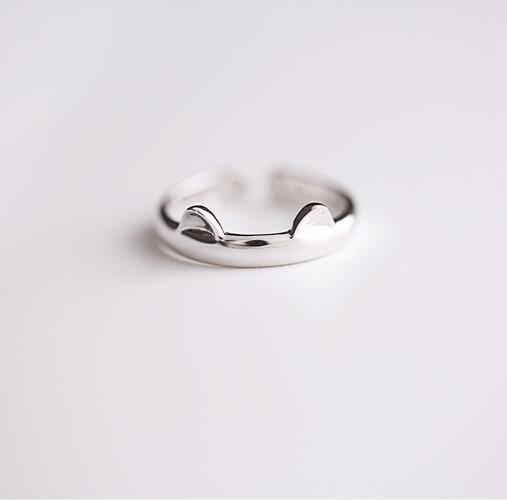 925 Sterling Sølv Katt Øre Ring Design Søt S925 Smykker Katt Ring For Kvinner Ung Jente Barn Justerbar Freeshipping