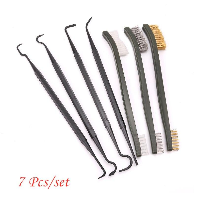 7 Pcs/set Gun Hunting Tactical Rifle Cleaning Kit 3pcs Steel Wire Brush 4pcs Nylon Pick Cleaning Tool