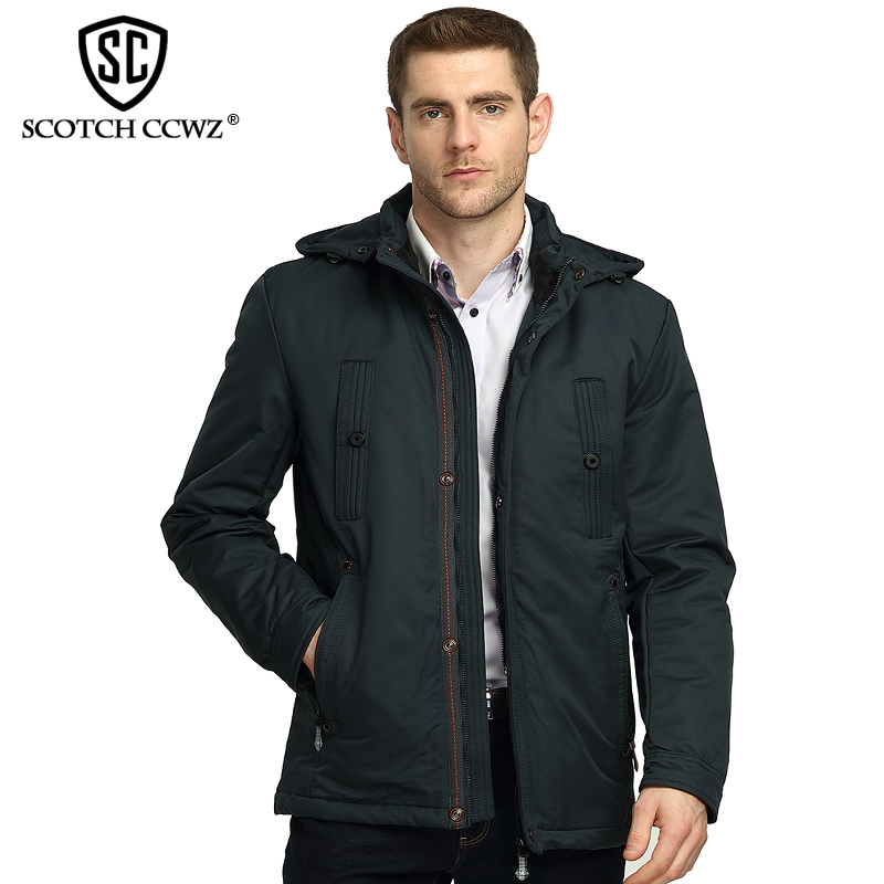 SCOTCH CCWZ Brand Fashion Business Winter Jacket Men Parka Hooded Casual Outerwear Warm Jackets And Coats For Men Clothing 5005 2016 hot sale brand new winter outdoors jacket men wadded coats fashion outerwear casual jackets jackets